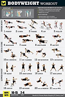 Dumbbell Workout Exercise Poster - Laminated - Home Gym - Fitness