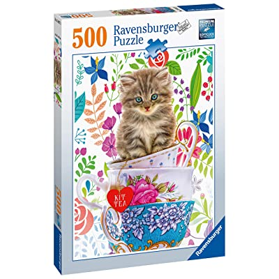 Ravensburger 15037 Teacup Kitty 500pc Jigsaw Puzzle: Toys & Games