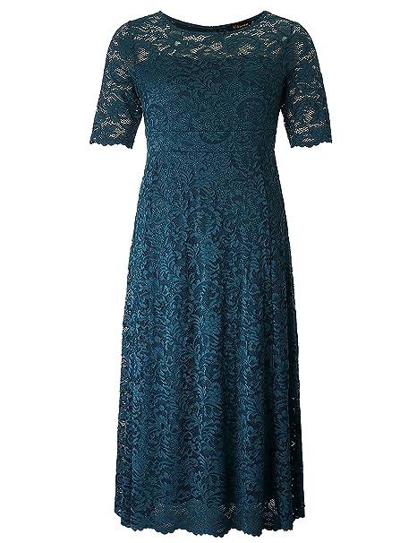 Chicwe Mujeres Tallas Grandes Elástico Forrado Maxi Vestido con Encaje Festoneado - Vestido de Noche Boda