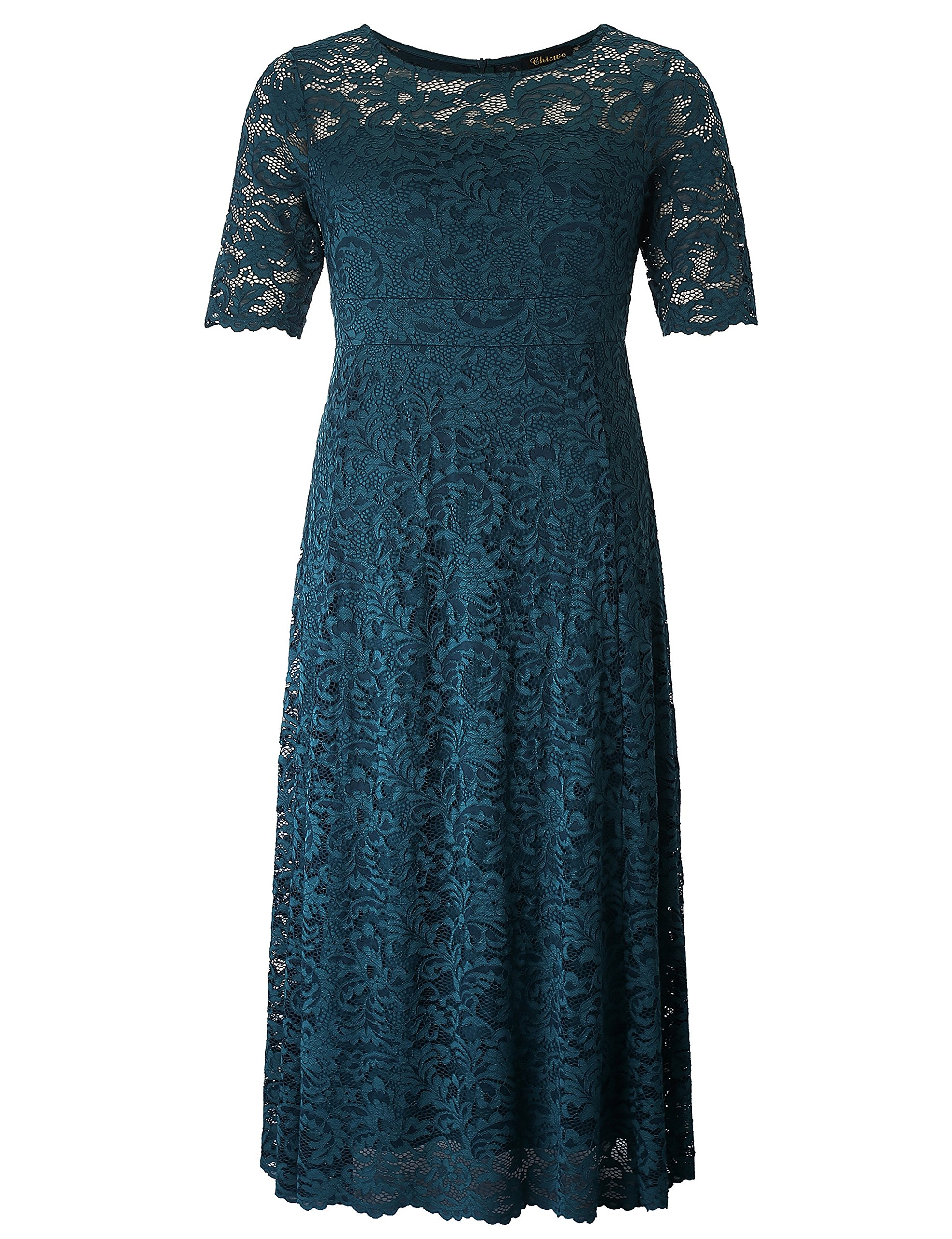 Chicwe Women's Plus Size Stretch Lined Scalloped Lace Maxi Dress - Evening Wedding Party Cocktail Dress 3X