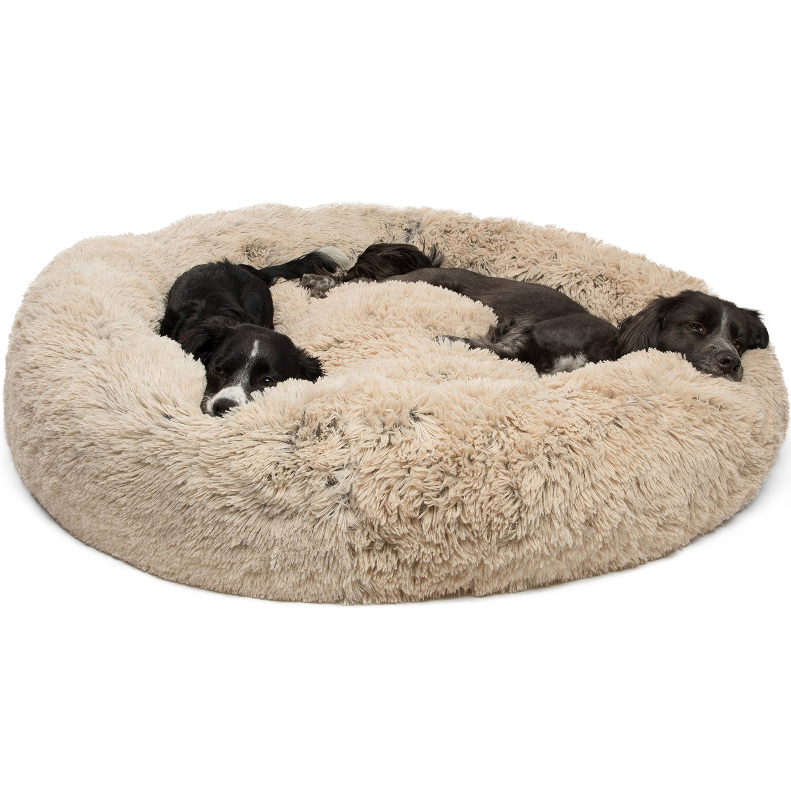 Best Friends by Sheri Calming Shag Vegan Fur Donut Cuddler (45x45, Zippered) - XL Round Donut Cat and Dog Cushion Bed, Removable Shell, Warming and Cozy for Improved Sleep - Prime, Pets Up to 150 lbs by Best Friends by Sheri