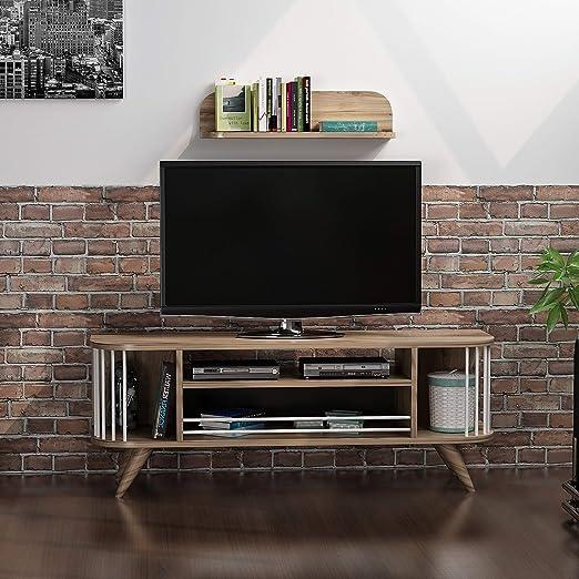 Homemania - Mueble para TV Felix, Madera, Blanco-Nogal, 120 x 35 x 45 cm - 60 x 17 x 15 cm: Amazon.es: Juguetes y juegos
