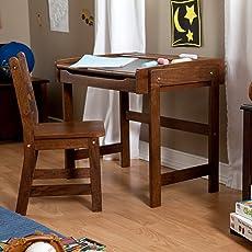 Best Selling Most Popular Childs Kids Toddlers Solid Wood Walnut Finish Work Activity Art Writing Drawing & Kidsu0027 Desks | Amazon.com