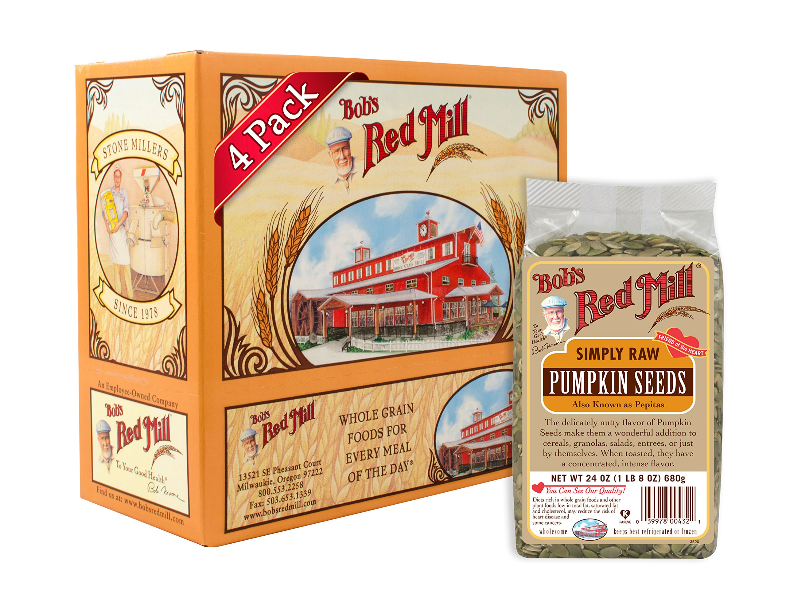 Bob's Red Mill Pumpkin Seeds, Raw, 24 Ounce Packages (Pack of 4)