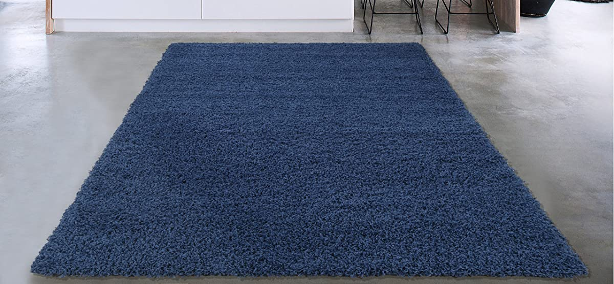 Sweethome Stores Cozy Collection Plush Luxurious Solid Navy Solid Design (5 X 7) Shag Living Room & Bedroom Area Rug