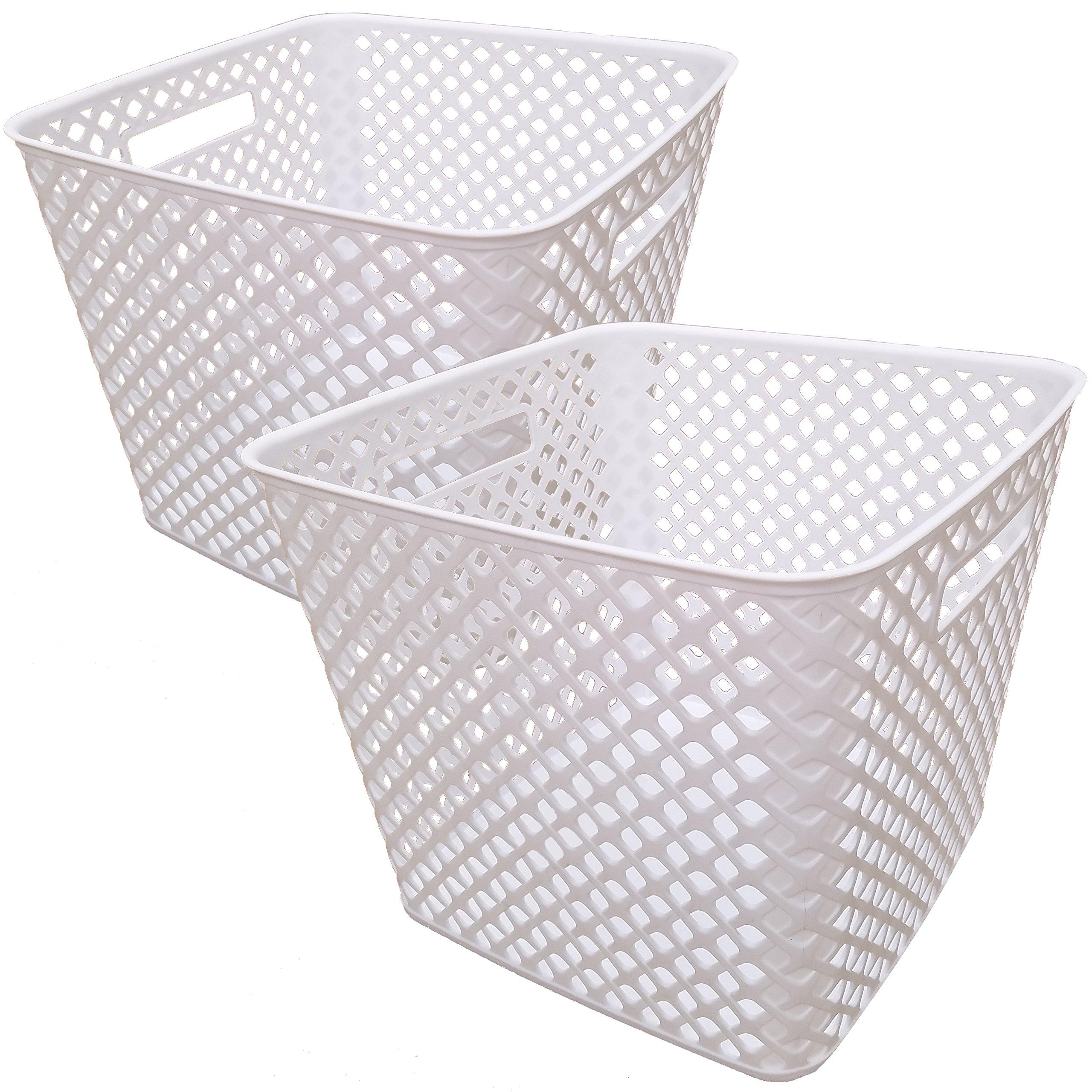 Starplast Square Cube Deco Baskets - White, 2 Pack
