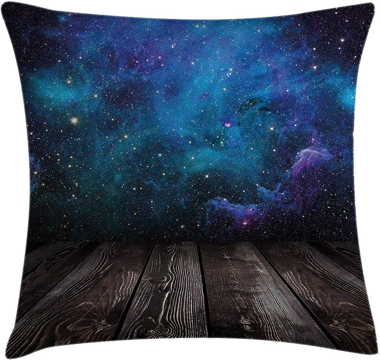 Galaxy Throw Pillow Cushion Cover, Outer Space View from Rustic Wooden Deck of Blue Nebula Stars Magical Night, Decorative Square Accent Pillow Case, 18 X 18 Inches, Black Blue Brown Purple