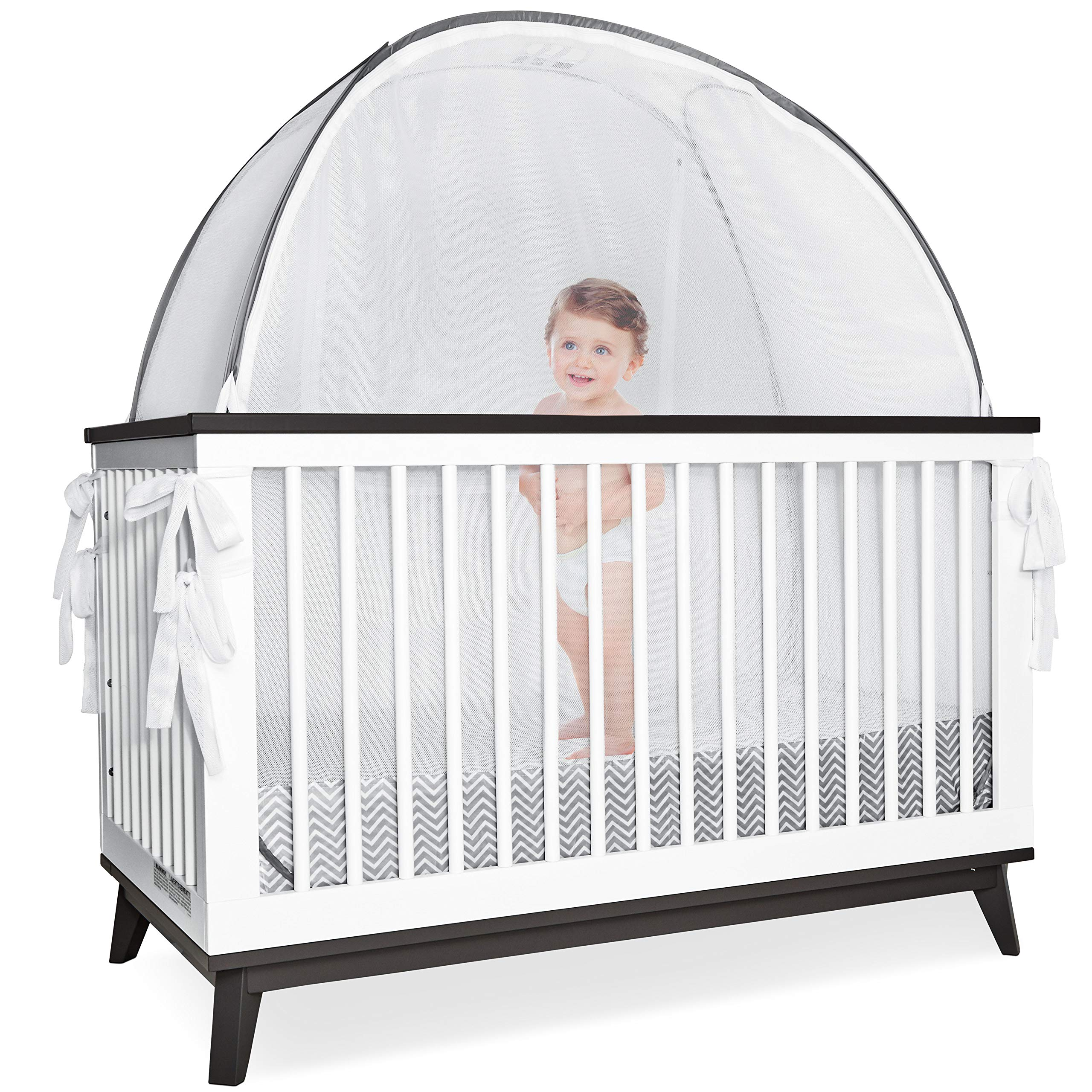 Grey Baby Canopy Cover -Safety Pop Up Tent - See Through Crib and Nursery Soft Mesh Cover, Net with New Viewing Window - Zippered Safety Top for Mosquito Bites and Falling Protection for Infants by 1st Baby Safety