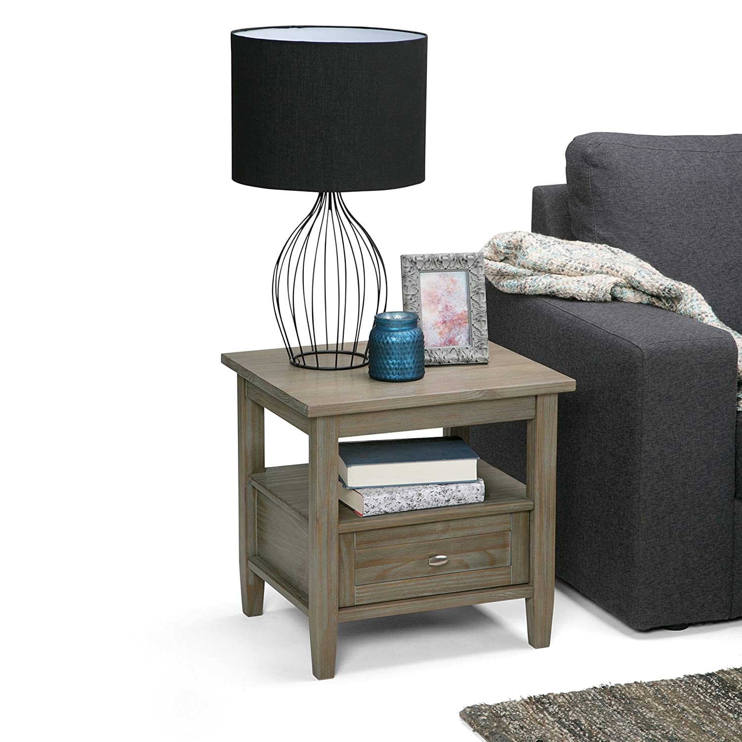 Amazon Simpli Home Warm Shaker End Side Table Distressed