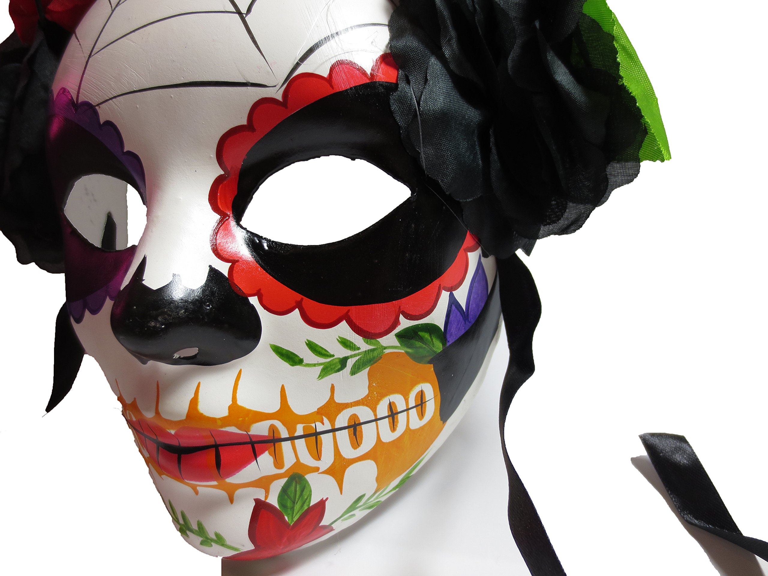 Two's Company Red and Black Day of the Dead Mask with Flower Head Piece by Two's Company (Image #2)