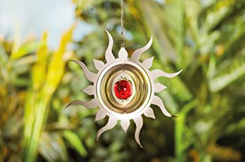 3D Edelstahl Windspiel Sonne mit Echtglaskugel Gartendeko ...
