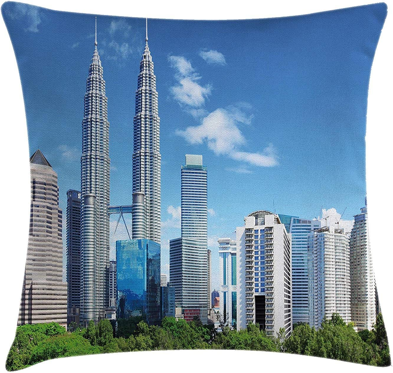 Urban Throw Pillow Cushion Cover Malaysian Kuala Lumpur Skyline Skyscrapers Capital City Corporate Panorama Decorative Square Accent Pillow Case 18 X 18 Inches Sky Blue Light Grey Amazon Co Uk Kitchen Home