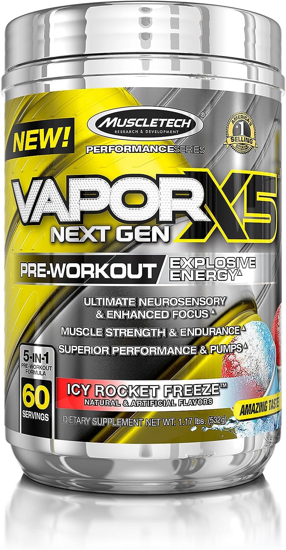 MuscleTech Vapor X5 Next Gen Pre Workout Powder, Explosive Energy Supplement, Icy Rocket Freeze, 60 Servings,27.2 Ounce, Pack of 1