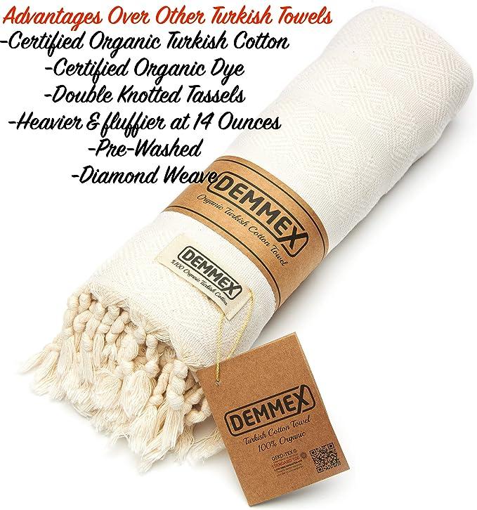 Baby Blue DEMMEX Oeko-TEX Certified 100/% Organic Cotton /& Organic Dye Prewashed XL Diamond Weave Turkish Towel Peshtemal Blanket for Bath,Beach,Pool,SPA,Gym,71x39 Inches