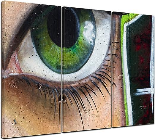 Bilderdepot24 Cuadros en Lienzo Street Art Graffiti - Arte Callejero Graffiti 90x60cm 3 Piezas - Enmarcado Listo Bastidor Imagen. Directamente Desde el Fabricante: Amazon.es: Hogar