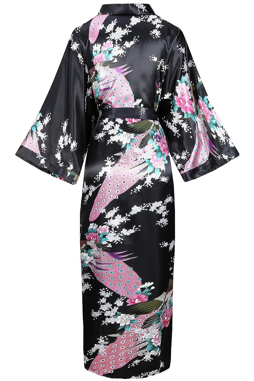 aad1124b90 BABEYOND Kimono Dressing Gown Peacock Kimono Robe For Women Wedding Girl s  Bonding Party Pyjamas 135cm Long (Black)(Size  free size)  Amazon.co.uk   Clothing