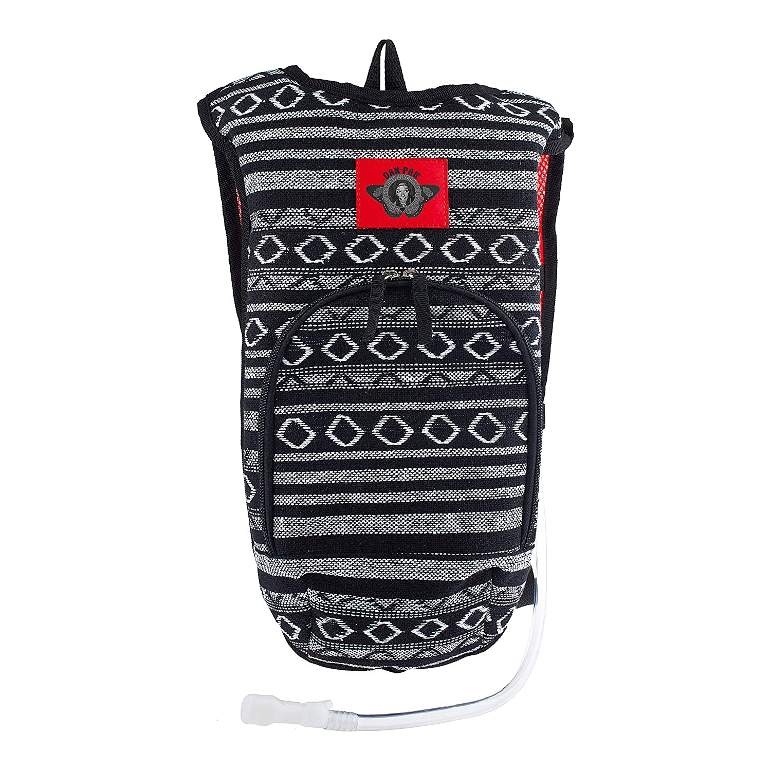 Dan-Pak Rave Hydration Pack 2l- Hippie Trip Black Red -Black and White Woven Tribal Design – Perfect for Music Festivals and Camping