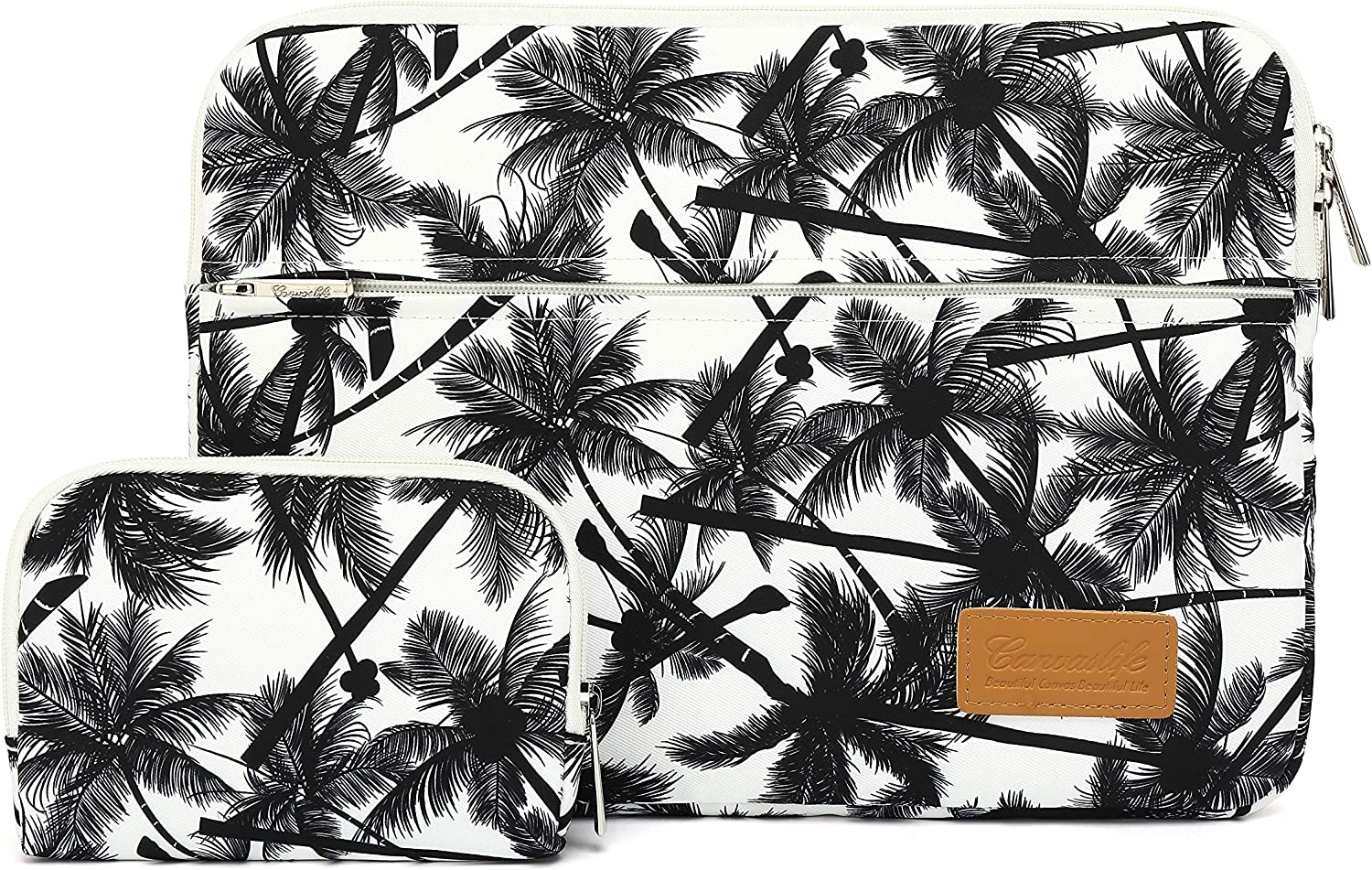 Canvaslife Black Coconut Trees Pattern 360 Degree Protective 13 inch Canvas Laptop Sleeve with Pocket 13 Inch 13.3 Inch Laptop Case