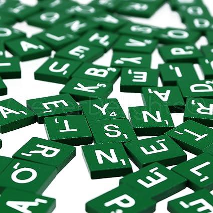100 Wood Scrabble Tiles 1 Complete Set Green Color Game Crafts Weddings