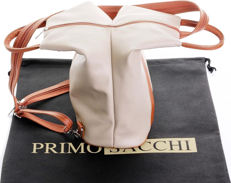 Amazon.com: Primo Sacchi - Mochila (piel de napa), Beige, M ...