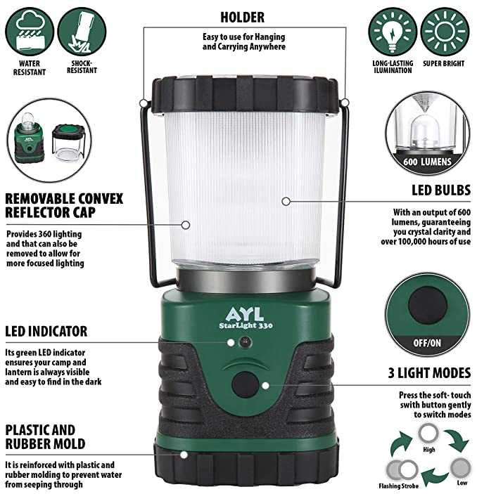 AYL Starlight - Water Resistant - Shock Proof - Battery Powered Ultra Long Lasting Up to 6 Days Straight