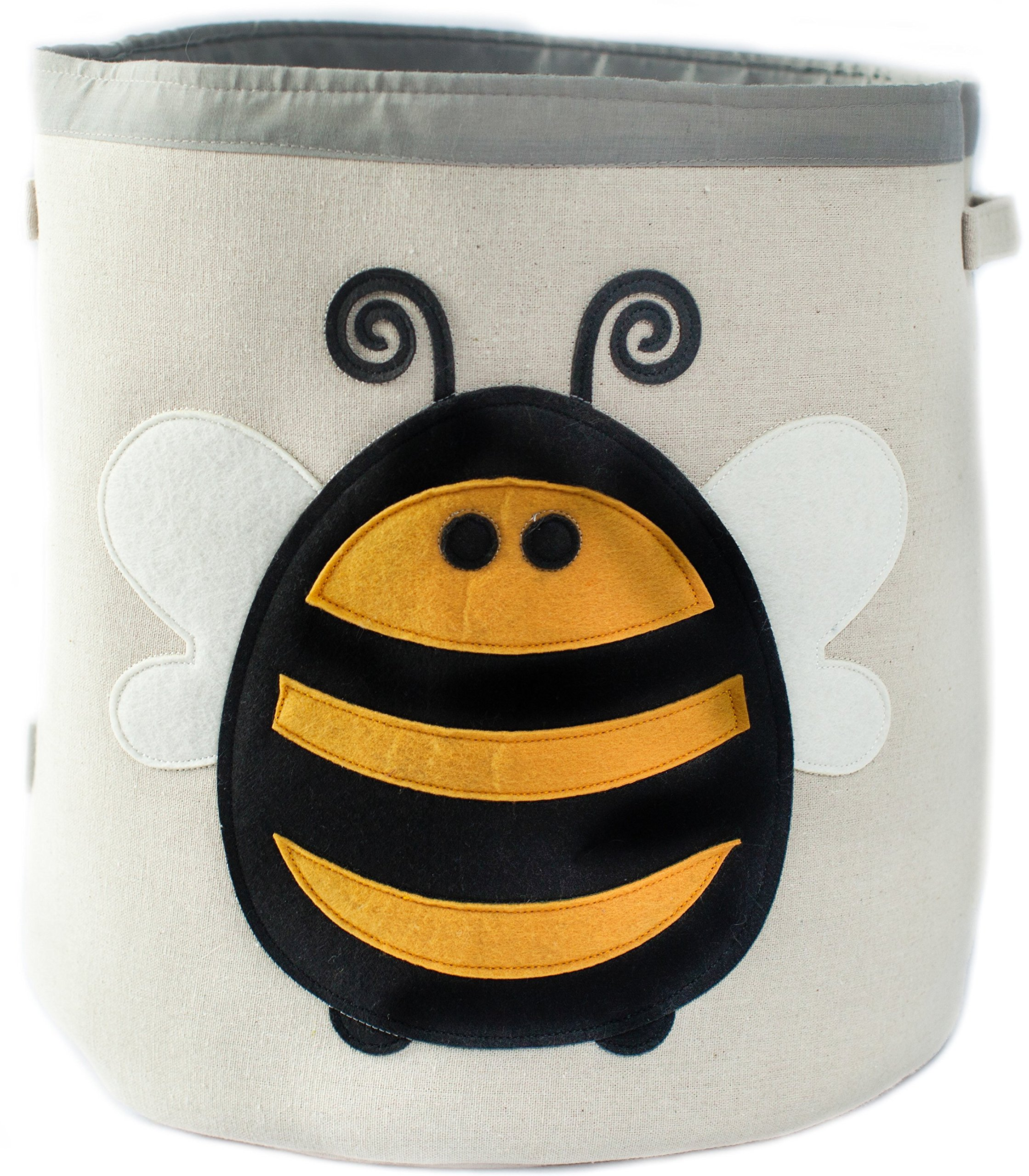 Grey Bee Animal Theme Collapsible Canvas Storage Bin for Kids, Yellow - Bee by Grey Bee