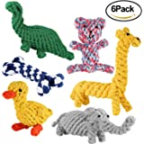 Simptech Rope Dog Chew Toys, Animal Design Cotton Puppy Toys, Training Teething Toys for Small to Medium Sized Dogs(Set of 6)