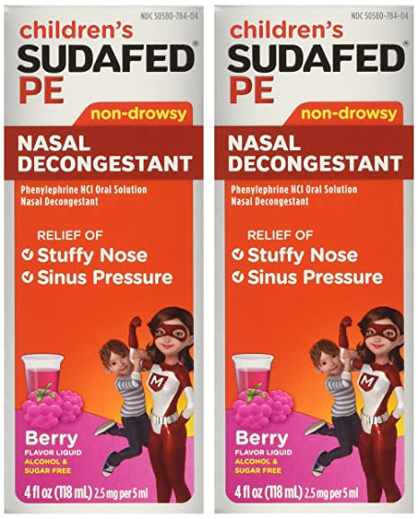 Children's Sudafed PE Nasal Decongestant Non-drowsy Raspberry Flavor Liquid  4-Ounce (Pack