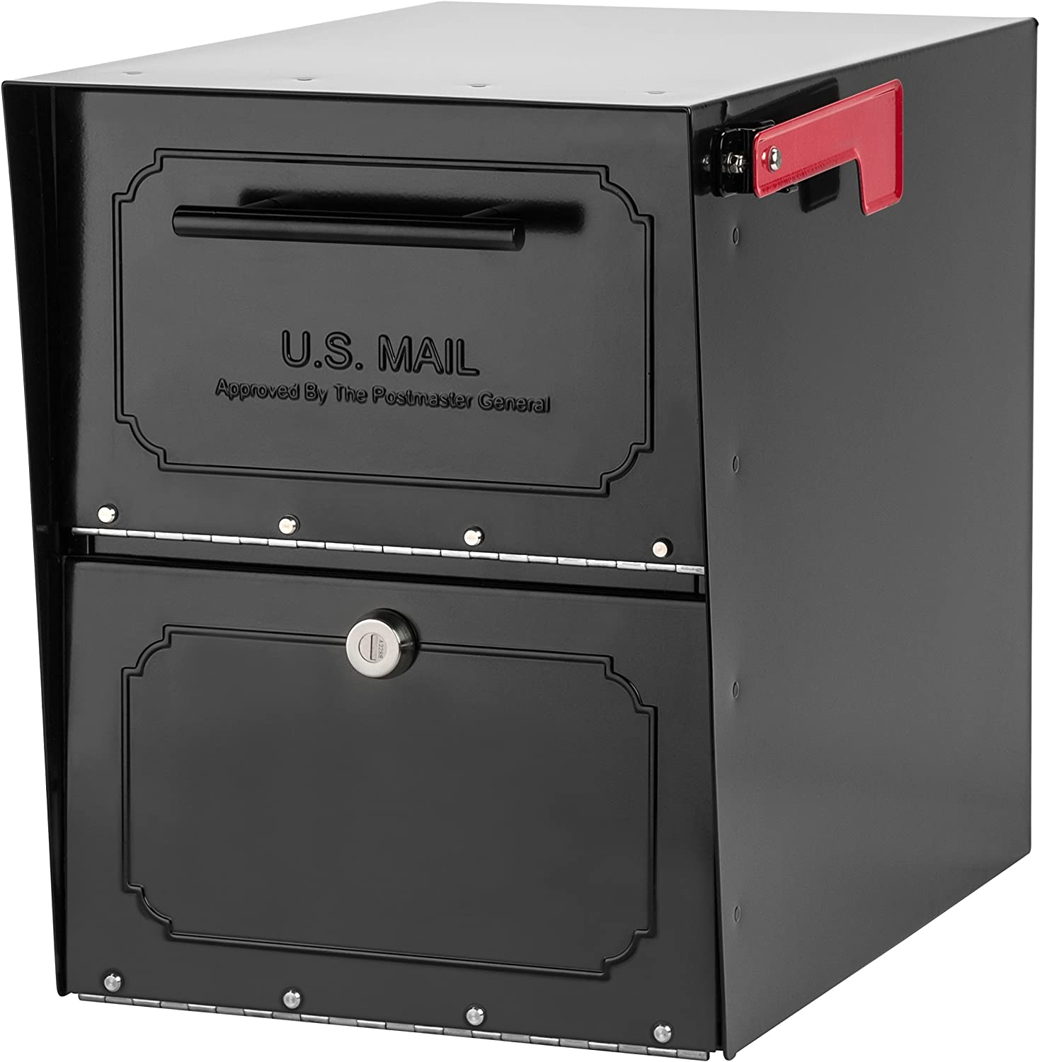 B0002Q91K2 Architectural Mailboxes 6200B-10 Oasis Classic Locking Post Mount Parcel Mailbox with High Security Reinforced Lock 91O2oy2BaFOL