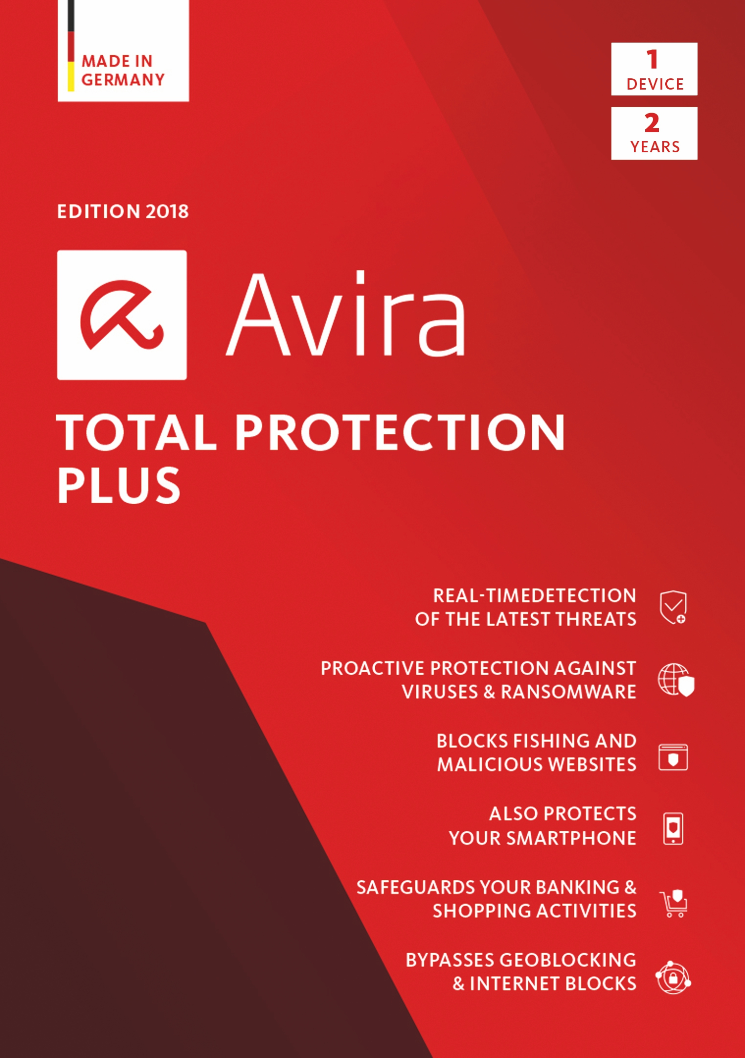 Avira Total Protection Plus 2018 | 1 Device | 2 Year | Download [Online Code]