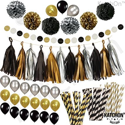 Black Gold Silver Party Decorations - Huge Pack of 115 - Paper PomPoms | Paper Tassels  sc 1 st  Amazon.com & Amazon.com: Black Gold Silver Party Decorations - Huge Pack of 115 ...