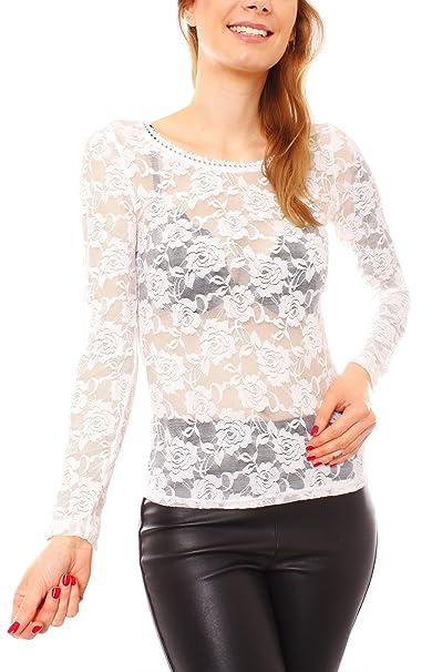Camiseta de manga larga mujer sexy Top como para joven y cuello redondo o Bolero de