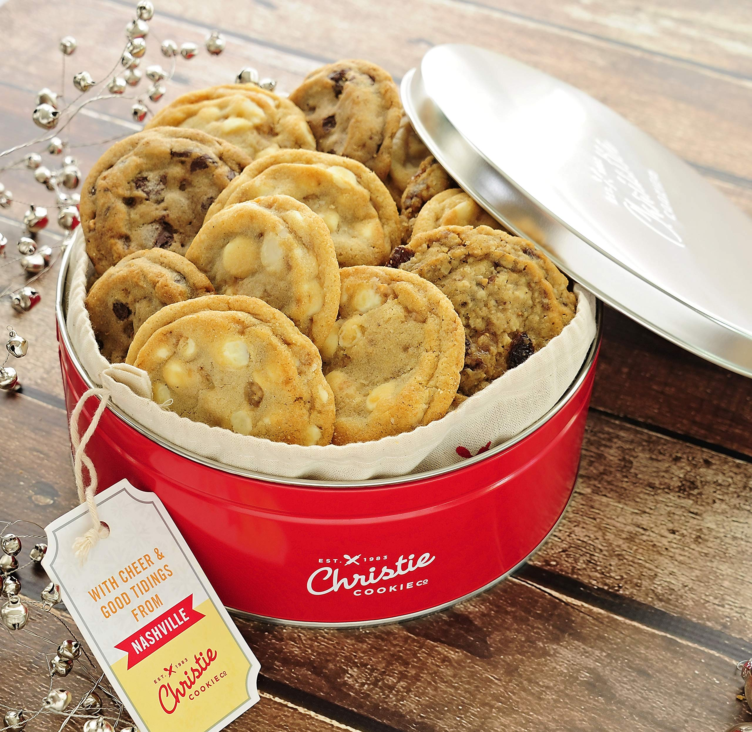 Christie Cookies, Gourmet Assorted Cookies, 18 Fresh-Baked Cookies in Red Tin, No Added Preservatives, 100% Real Butter, Holiday & Corporate Gift Tin, Birthday Gift Idea for Men & Women by Christie Cookie Co. (Image #1)