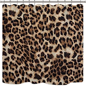 AMBZEK Leopard Print Shower Curtain Wild Safari Animal Powerful Panthera Brown Skin Pattern Artwork Cloth Fabric Bathroom Decor Set with 12 Pack Hooks 60Wx71L inch, Orange Brown