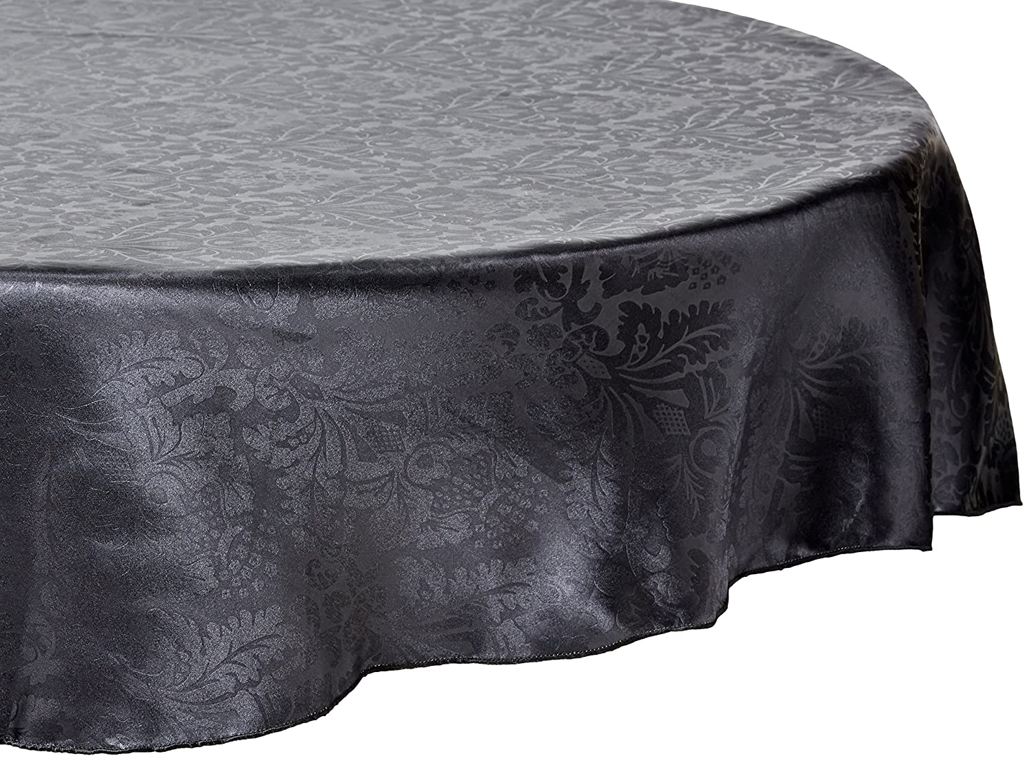 108-Inch Black 108RD-063411 LinenTablecloth Round Baroque Embossed Satin Tablecloth