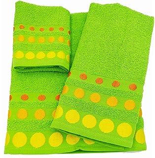Confort Home M.T (Pistacho BOLAS) Juego de toallas de baño 3 piezas (1 toalla de baño, 1…