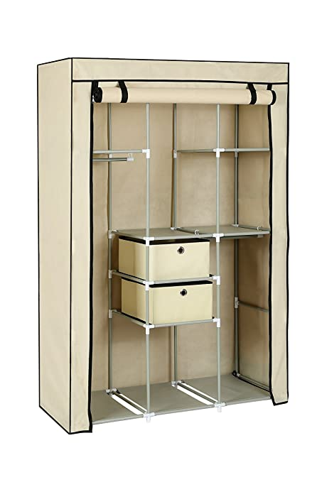 MULSH Closet Wardrobe Portable Clothes Storage Organizer With Metal Shelves  And Dustproof Non Woven Fabric