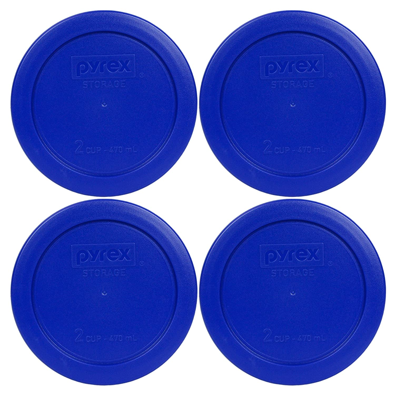 4 Pack! Pyrex Light Blue 2 Cup Round Storage Cover Item Number 7200-PC for Glass Bowls - True BlueReplacement Lid for Pyrex 2 Cup Bowls by Pyrex