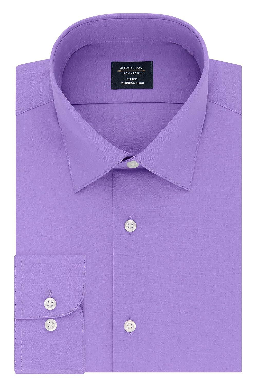Arrow 1851 Mens Standard Dress Shirt Poplin Fitted Spread Collar 26W5843