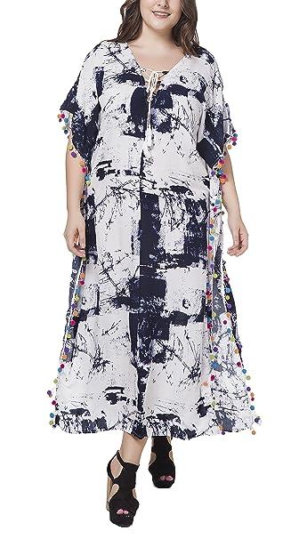 Vestidos Verano Mujer Tallas Grandes Casual Largos Vestido Modernas Casual Elegante V Cuello Flojo Faldas con