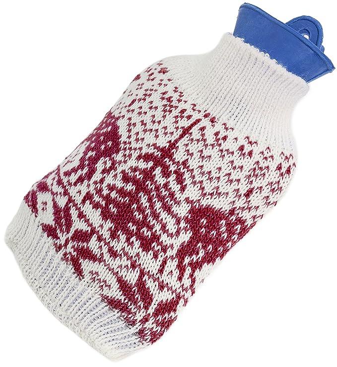 Brubaker - Set de regalo para pies calientes, con calcetines de estilo noruego para mujer y botella de agua caliente con forro de punto a juego Wärmflasche ...