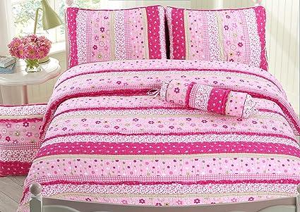 953bd1f6af Cozy Line Home Fashions Silvia Pink Floral Polka Dot Green Fuchsia Flower  Print Stripe Lace 100