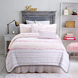 Cozy Line Home Fashions Pink Princess Ruffle 100% Cotton Reversible Bedding Quilt Set (Pink Princess, Twin - 2 Piece)
