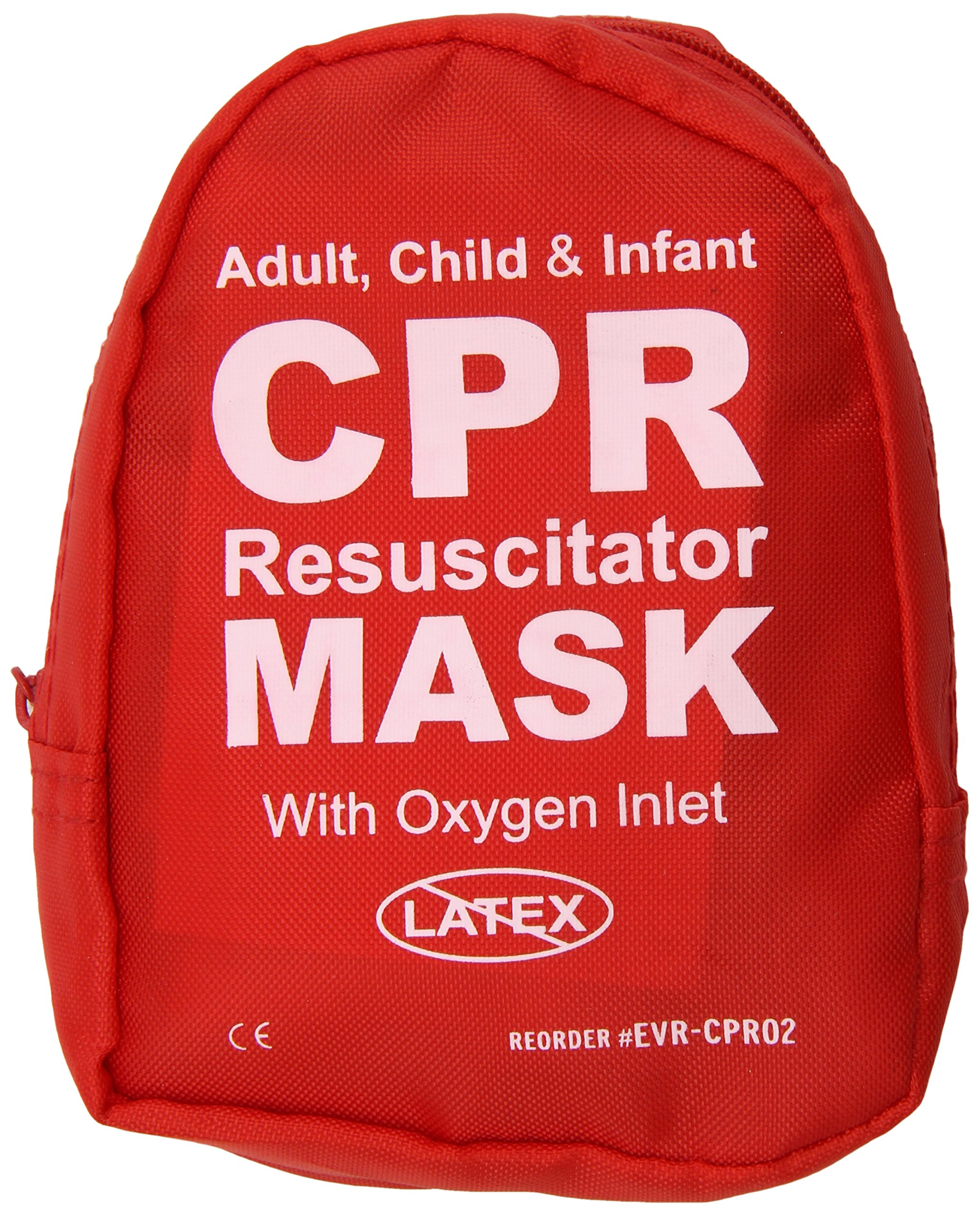 Ever Ready First Aid Adult and Infant CPR Mask Combo Kit with 2 Valves (Pack of 50)