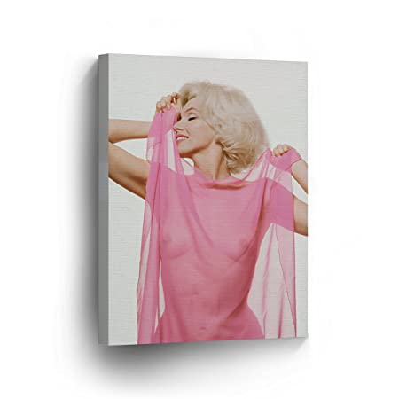 Marilyn Monroe Wall Decor Naked Behind Pink Tulle Canvas Print Black and White Decorative Art Modern Wall Artwork Wrapped Wood Stretcher Bars Vertical – Ready to Hang – 100 Handmade in the USA 22×15