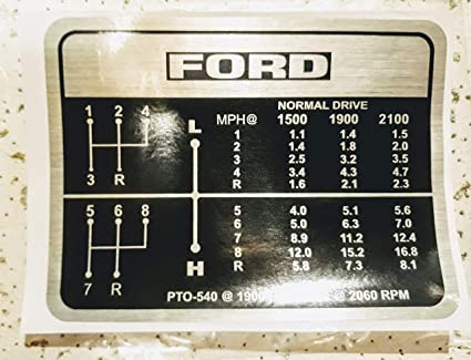 Amazon com: S60665 Ford Tractor Gear Shift Decal 8-Speed