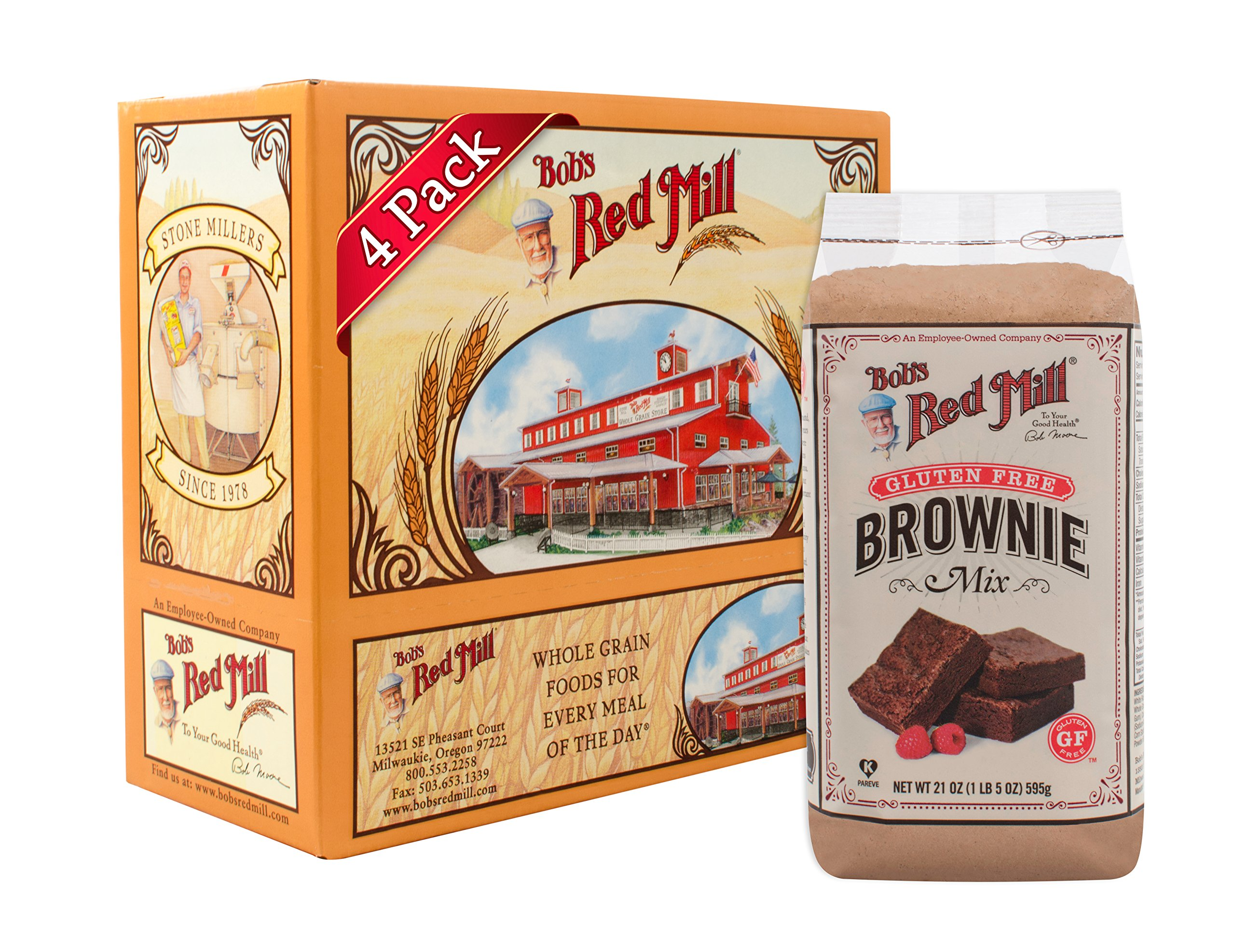 Bob's Red Mill Gluten Free Brownie Mix, 21 Oz (4 Pack) by Bob's Red Mill