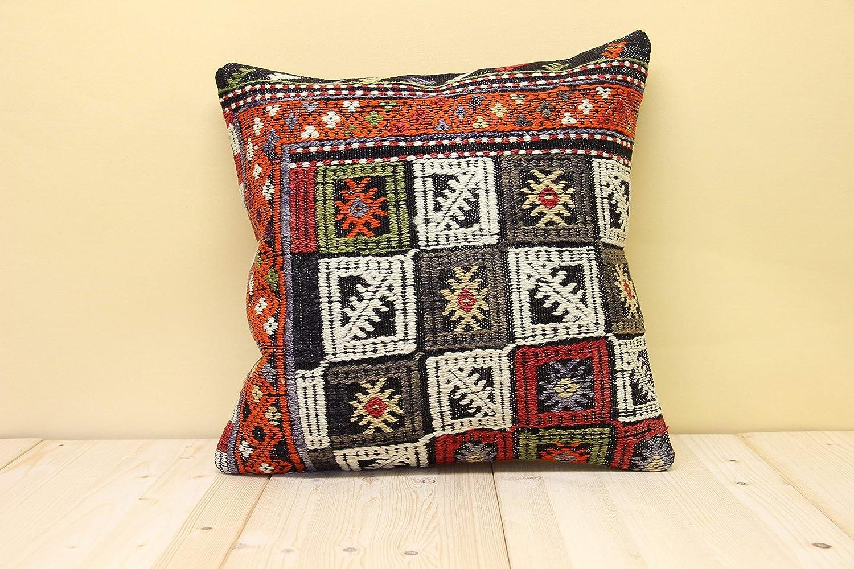 Kilim Pillow 16 x 16,Kilim Pillow Cover,Turkish Pillow,Bedding Pillow,Outdoor Pillow,Indoor Pillow,Patterned Kilim Pillow Cover 6943
