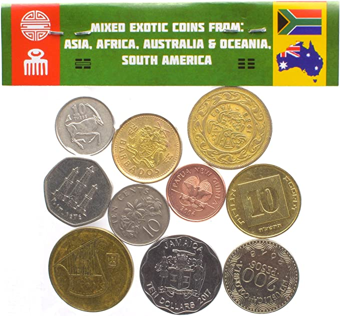LOT 2 POUNDS EXOTIC COINS FROM ASIA AFRICA CARIBBEAN /& OCEANIA SOUTH AMERICA