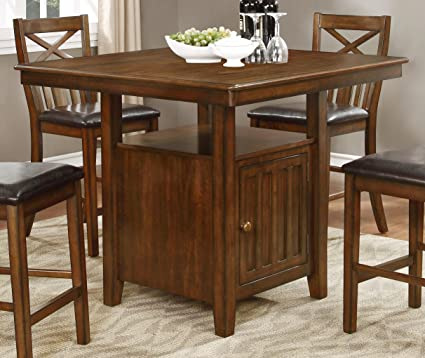 Amazoncom Nhi Express Wood Counter Height Table With Storage Tables
